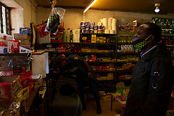May 12, 2020, Pretoria, Gauteng, South Africa: Itireleng, Pretoria. Masks and food are among the essential items on sale at a spaza shop on 12th May 2020. (Credit Image: © Manash Das/ZUMA Wire)