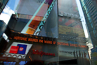 Ticker in Times Square reflects grim financial news. ..Photo by Robert Caplin.