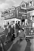 15/03/1963<br /> 03/15/1963<br /> 15 March 1963<br /> Players Tram float display. The Lord Mayor of Dublin Alderman J.J. O'Keeffe T.D. P.C., inaugurating the new Players Tram float which was to take part in the annual St. Patrick's Day N.A.I.D.A. Parade. Also in photo are: E.K. Bohane, (centre) General Manager, Players and Aodhagan Brioscu, (left) President of the N.A.I.D.A..