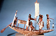 Funerary boat of painted wood. Length 8cm. Ancient Egypt Dynasty IX (2232-2140 BC) .