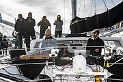 DJ Breakbot and the singer Irfane on board Imoca Newrest - Arts et Fenêtres (Fabrice Amédéo) during the Route du Rhum 2018, on November 3rd, in Saint Malo, France, before the Route du Rhum sailing race to start on November 4th 2018 - Photo Olivier Blanchet / ProSportsImages / DPPI