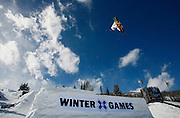 SHOT 1/25/08 12:14:51 PM - Heikki Sorsa of Helsinki, Finland goes big off the gap jump during practice for qualifying in the Snowboard Slopestyle evenrt Friday January 25, 2008 at Winter X Games Twelve in Aspen, Co. at Buttermilk Mountain. The 12th annual winter action sports competition features athletes from across the globe competing for medals and prize money is skiing, snowboarding and snowmobile. Numerous events were broadcast live and seen in more than 120 countries. The event will remain in Aspen, Co. through 2010..(Photo by Marc Piscotty / © 2008)
