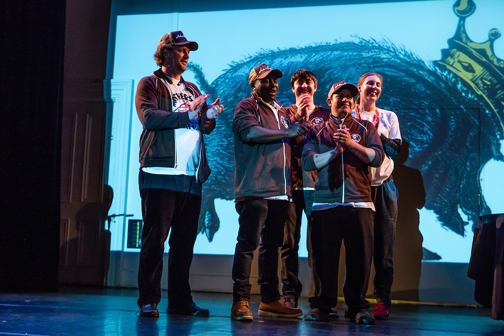 Flushing, NY - February 25, 2017. The crew from John Brown's Smokehouse on stage accepting the People's Choice Award at the 2017 Charcuterie Masters at Flushing Town Hall.