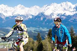 05.05.2016, Kitzbuehler Horn, Kitzbuehel, AUT, OeSV, Skisprung, Lehrgang Mountainbike Tour, im Bild Markus Schiffner und Philipp Aschenwald (AUT) // Markus Schiffner and Philipp Aschenwald of Austria during a mountain bike ride of the Austrian ski jumping Team at the Kistbuehler Horn, Kitzbuehel, Austria on 2016/05/05. EXPA Pictures © 2016, PhotoCredit: EXPA/ JFK