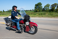 Rowdy Schenck of Carlsbad, NM riding his 1948 Indian Chief down the highway in the Cross Country Chase motorcycle endurance run from Sault Sainte Marie, MI to Key West, FL (for vintage bikes from 1930-1948). Stage 4 saw a 315 mile ride from Urbana, IL to Bowling Green, KY USA. Monday, September 9, 2019. Photography ©2019 Michael Lichter.