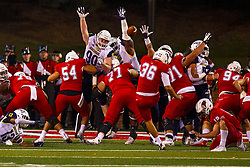 NORMAL, IL - September 21: Sam Fenalson kicks a point after during a college football game between the ISU (Illinois State University) Redbirds and the Northern Arizona University (NAU) Lumberjacks on September 21 2019 at Hancock Stadium in Normal, IL. (Photo by Alan Look)