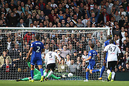 Ryan Sessegnon of Fulham (c) scores his team's first goal. EFL Skybet football league championship match, Fulham v Cardiff city at Craven Cottage in London on Saturday 9th September 2017.<br /> pic by Steffan Bowen, Andrew Orchard sports photography.