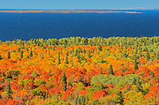 Autumn colors on the Montreal River Hill as seen from above<br /> Montreal River Harbour south of LAke Superior Provincial Park<br /> Ontario<br /> Canada