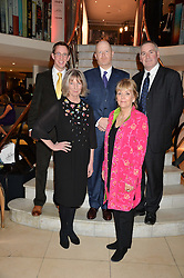 Left to right, NATHAN FILER winner of the Costa First Novel Award, LUCY HUGHES-HALLETT winner of the Costa Biography Award, MICHAEL SYMMONS ROBERTS winner of the Costa Poetry Award, KATE ATKINSON winner of the Costa Novel Award and CHRIS RIDDELL winner of the Costa Children's Book Award at the Costa Book Awards 2013 held at Quaglino's, 16 Bury Street, London on 28th January 2014.