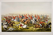 "Hodson's Horse at the battle of Rhotuck [William Stephen Raikes Hodson (19 March 1821 – 11 March 1858) was a British leader of irregular light cavalry during the Indian Rebellion of 1857, commonly referred to as the Indian Mutiny or the Sepoy Mutiny. He was known as ""Hodson of Hodson's Horse""] Lithograph from the book Campaign in India 1857-58 Illustrating the military operations before Delhi ; 26 Hand coloured Lithographed plates. by George Francklin Atkinson Published by Day & Son Lithographers to the Queen in 1859"
