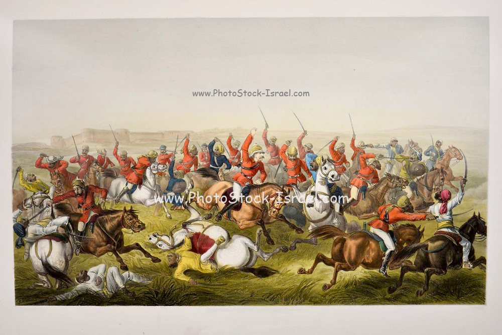 """Hodson's Horse at the battle of Rhotuck [William Stephen Raikes Hodson (19 March 1821 – 11 March 1858) was a British leader of irregular light cavalry during the Indian Rebellion of 1857, commonly referred to as the Indian Mutiny or the Sepoy Mutiny. He was known as """"Hodson of Hodson's Horse""""] Lithograph from the book Campaign in India 1857-58 Illustrating the military operations before Delhi ; 26 Hand coloured Lithographed plates. by George Francklin Atkinson Published by Day & Son Lithographers to the Queen in 1859"""