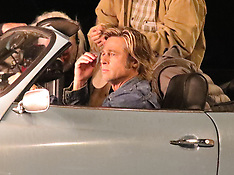 Brad Pitt in having a laugh on the set of Once Upon a Time in Hollywood - 22 Oct 2018