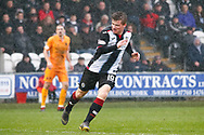 Anders Dreyer of St Mirren braves the weather as he chases down a back pass during the Ladbrokes Scottish Premiership match between St Mirren and Livingston at the Simple Digital Arena, Paisley, Scotland on 2nd March 2019.