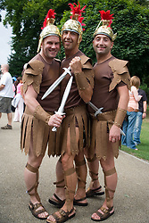 Three men dressed up as centurions at Nottingham's 2005 Gay Pride Lesbian festival; held at the Arboretum,
