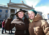 Sisters,Marnie and Nikki Caddle from  Clondalkin [ Elizabeth  O Farrell was their Grand Aunt] pictured after the 1916 Easter Rising Commemoration Parade on Dublin's O Connell St. Picture Credit: Frank Mc Grath<br /> 27/3/16