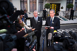© London News Pictures. File picture dated 07/12/2012. John Lofthouse (right) Chief Executive of the King Edward VII Hospital in London speaking to media outside King Edward VII Hospital  on December 07, 2012 following the suicide of nurse Jacintha Saldanha. Reports have today suggested that Jacintha Saldanha was critical of staff at the hospital in her suicide note.  Photo credit: Ben Cawthra/LNP