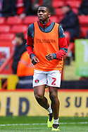 Charlton Athletic defender Anfernee Dijksteel (2) warms up prior to the EFL Sky Bet League 1 match between Charlton Athletic and Bristol Rovers at The Valley, London, England on 24 November 2018.