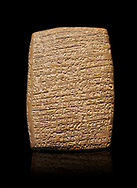 Hittite cuneiform tablet. Adana Archaeology Museum, Turkey. Against a black background .<br /> If you prefer to buy from our ALAMY STOCK LIBRARY page at https://www.alamy.com/portfolio/paul-williams-funkystock/hittite-art-antiquities.html . Type - Adana - in LOWER SEARCH WITHIN GALLERY box. Refine search by adding background colour, place, museum etc.<br /> <br /> Visit our HITTITE PHOTO COLLECTIONS for more photos to download or buy as wall art prints https://funkystock.photoshelter.com/gallery-collection/The-Hittites-Art-Artefacts-Antiquities-Historic-Sites-Pictures-Images-of/C0000NUBSMhSc3Oo