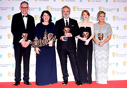 Callum McDougall, Pippa Harris, Sam Mendes, Krysty Wilson-Cairns and Jayne-Ann Tenggren with their award for Outstanding British Film in the press room at the 73rd British Academy Film Awards held at the Royal Albert Hall, London.
