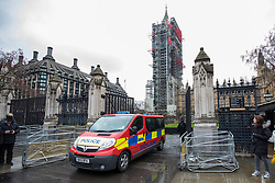 © Licensed to London News Pictures. 13/02/2018. A police van outside Parliament in Westminster after a suspicious package was discovered on the Parliamentary Estate. Photo credit: Rob Pinney/LNP