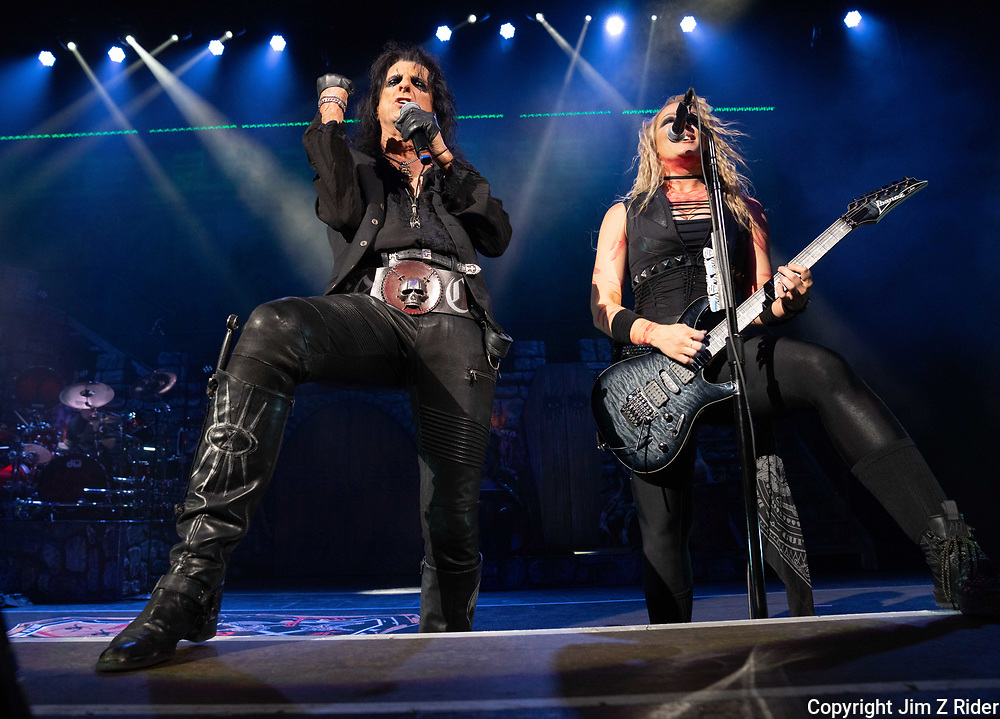 After nearly 19 months off stage, Rock and Roll legend ALICE COOPER, 73, launches his fall 2021 tour at Ocean Casino Resort in Atlantic City, New Jersey.  NITA STRAUSS, vocals and guitar, is at right.