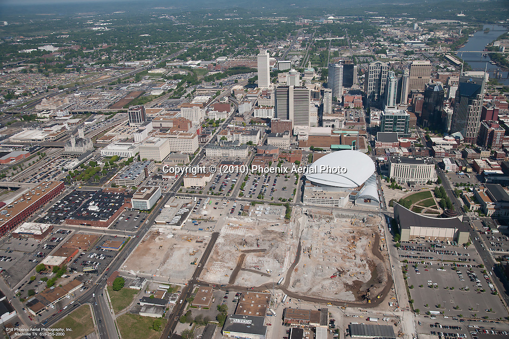 Aerial photo of the Music City Center during construction including the Nashville Skyline.