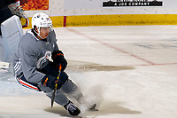 KELOWNA, BC - SEPTEMBER 22:  Ethan Bear #74 of the Edmonton Oilers stops on the ice during practice at Prospera Place on September 22, 2019 in Kelowna, Canada. (Photo by Marissa Baecker/Shoot the Breeze)