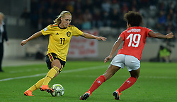 October 9, 2018 - Biel, SWITZERLAND - Belgium's Janice Cayman and Switzerland's forward Eseosa Aigbogun pictured in action during a soccer game between Switzerland and Belgium's national team the Red Flames, Tuesday 09 October 2018, in Biel, Switzerland, the return leg of the play-offs qualification games for the women's 2019 World Cup. BELGA PHOTO DAVID CATRY (Credit Image: © David Catry/Belga via ZUMA Press)