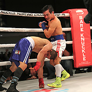 FORT LAUDERDALE, FL - FEBRUARY 15: Dat Nguyen knocks out Abdiel Velazquez during the Bare Knuckle Fighting Championships at Greater Fort Lauderdale Convention Center on February 15, 2020 in Fort Lauderdale, Florida. (Photo by Alex Menendez/Getty Images) *** Local Caption *** Dat Nguyen; Abdiel Velazquez
