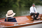 Henley on Thames, United Kingdom. 2016 Henley Masters' Regatta. Henley Reach. England. on Saturday  09/07/2016    [Mandatory Credit/ © Peter SPURRIER]<br /> <br /> Hats at Henley. Umpire's straw hat, waiting in  the marshalling area Rowing, Henley Reach, Henley Masters' Regatta.<br /> <br /> General View,  Henley Reach, venue, for the 2016 Henley Masters Regatta.<br /> <br /> NIKON CORPORATION  NIKON D810  f1.4  1/3200sec  85mm  14.6MB