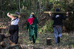 Denham, UK. 29th September, 2020. Environmental activists hold branches of trees in Denham Country Park felled by tree surgeons working on behalf of HS2 Ltd for works connected to the HS2 high-speed rail link. Anti-HS2 activists based at the nearby Denham Ford Protection Camp and protesting against the destruction of the woodland contend that the area of Denham Country Park currently being felled is not indicated for felling on documentation supplied by HS2 Ltd.