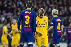 March 4, 2018 - Barcelona, Catalonia, Spain - 07 Griezman from France of Atletico de Madrid and 03 Gerard Pique from Spain of FC Barcelona during La Liga match between FC Barcelona v Atletico de Madrid at Camp Nou Stadium in Barcelona on 04 of March, 2018. (Credit Image: © Xavier Bonilla/NurPhoto via ZUMA Press)