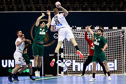 Julius Kuehn of Germany in action during handball match between National Teams of Algeria and Germany at Day 3 of IHF Men's Tokyo Olympic  Qualification tournament, on March 14, 2021 in Max-Schmeling-Halle, Berlin, Germany. Photo by Vid Ponikvar / Sportida