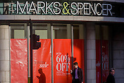 A 60% Sale reduction at a branch of UK retailer Marks & Spencer, on Bishopsgate in the City of London.