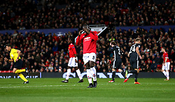 Manchester United's Romelu Lukaku (centre) rues a missed chance
