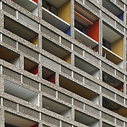 Nantes, France, Pays de la Loire, 2001: Unité d'Habitation at Rezé (1959-1960), front west at Boulevard le Corbusier - Le Corbusier arch - Photographs by Alejandro Sala