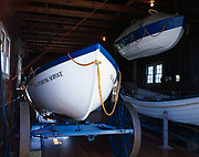 Surfboats on display in boathouse of the Sleeping Bear Point Coast Guard Station Maritime Museum, Sleeping Bear Dunes National Lakeshore, Michigan.