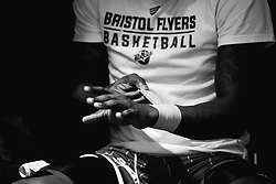 Fred Thomas of Bristol Flyers straps his wrists - Photo mandatory by-line: Robbie Stephenson/JMP - 29/03/2019 - BASKETBALL - English Institute of Sport - Sheffield, England - Sheffield Sharks v Bristol Flyers - British Basketball League Championship
