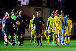 Joe Partington of Bristol Rovers leads the team out prior to kick off - Mandatory by-line: Ryan Hiscott/JMP - 13/11/2018 - FOOTBALL - St James Park - Exeter, England - Exeter City v Bristol Rovers - Checkatrade Trophy