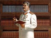 Josef Stalin  Soviet propaganda poster showing Stalin with books. Circa 1940-45