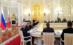 May 4, 2017 - Moscow, Russia - May 4, 2017. - Russia, Moscow. - Russian President Vladimir Putin holds a joint meeting of the State Council and the Commission for Monitoring Targeted Socioeconomic Development Indicators of the Russian Federation. (Credit Image: © Russian Look via ZUMA Wire)