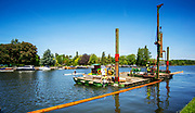 Henley-On-Thames, Berkshire, UK., Wednesday, 09/06/2021,  2021 Regatta Course Construction, Laying the course, Piles and Booms, Piling,[Mandatory Credit © Peter Spurrier/Intersport Images],