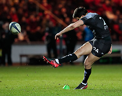 Toulon's Francois Trinh-Duc kicks a penalty<br /> <br /> Photographer Simon King/Replay Images<br /> <br /> European Rugby Champions Cup Round 6 - Scarlets v Toulon - Saturday 20th January 2018 - Parc Y Scarlets - Llanelli<br /> <br /> World Copyright © Replay Images . All rights reserved. info@replayimages.co.uk - http://replayimages.co.uk