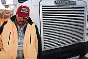 19 DECEMBER 2008 -- NOGALES, SON, MEX: Raul Corrales, a Mexican truck driver, waits to enter the US on the Mexican side of the Mariposa port of Entry in Nogales. PHOTO BY JACK KURTZ