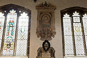 The memorial to 17th century London diarist, Samuel Pepys in St Olaves Church on the corner of Seething Lane in the City of London, on 30th May 2018, in London, England.