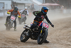 Hooligan flattracker Justin Souza (no. 27) on his Harley-Davidson racer in the Hooligan races on the temporary track in front of the Sturgis Buffalo Chip main stage during the Sturgis Black Hills Motorcycle Rally. SD, USA. Wednesday, August 7, 2019. Photography ©2019 Michael Lichter.