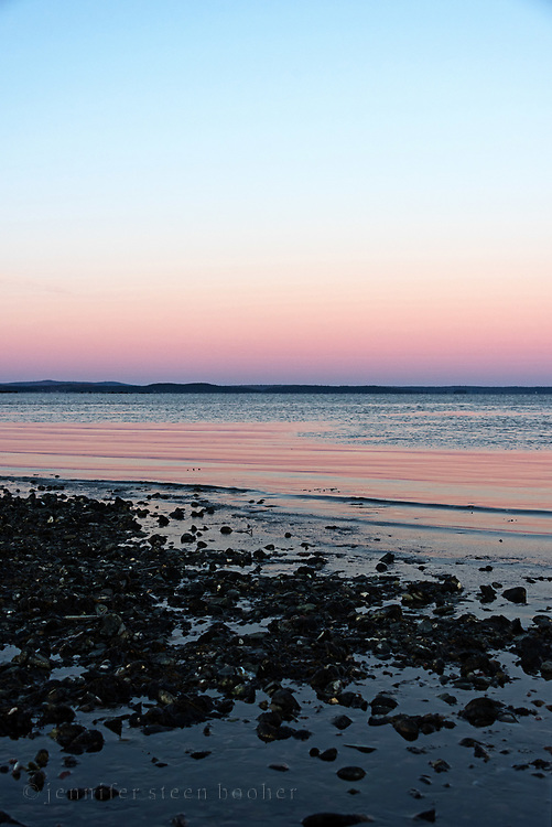 Winter sunset, Hulls Cove, Maine.