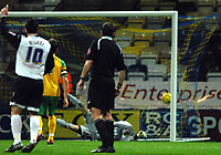 Photo: Paul Greenwood.<br />Preston North End v Norwich City. Coca Cola Championship. 20/02/2007. Norwich keeper Paul Gallagher is beaten by Pavel Pergl shot