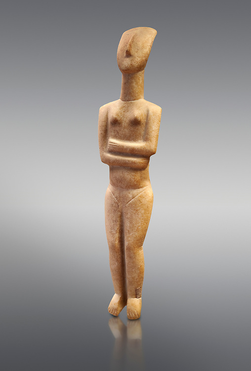 Marble female Cycladic statue figurine with folded arms of the Spedos type. Early Cycladic Period II (2800-2300 BC) from Naxos, Cat No 6195. National Archaeological Museum, Athens.   Grey background.<br /> <br /> <br /> This Cycladic statue figurine is of the Spedos type standing on tip tie with bended knees and arms folded under the breasts with head raiised. .<br /> <br /> If you prefer to buy from our ALAMY PHOTO LIBRARY  Collection visit : https://www.alamy.com/portfolio/paul-williams-funkystock/cycladic-art-artefacts.html Type into the LOWER SEARCH WITHIN GALLERY box to refine search by adding background colour, place, museum etc<br /> <br /> Visit our CYCLADIC CIVILISATIONS PHOTO COLLECTIONS for more photos to download or buy as wall art prints https://funkystock.photoshelter.com/gallery-collection/Cycladic-civilisation-Ancient-Greek-Artefacts-art-Photos-Pictures-Images/C0000CmevVvnC.XU