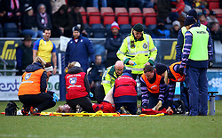 Mat Protheroe of Bristol Rugby receives treatment for a knee injury - Mandatory by-line: Robbie Stephenson/JMP - 13/01/2018 - RUGBY - Castle Park - Doncaster, England - Doncaster Knights v Bristol Rugby - B&I Cup